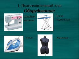 1. Подготовительный этап Оборудование: Швейная машина Утюг Доска гладильная М