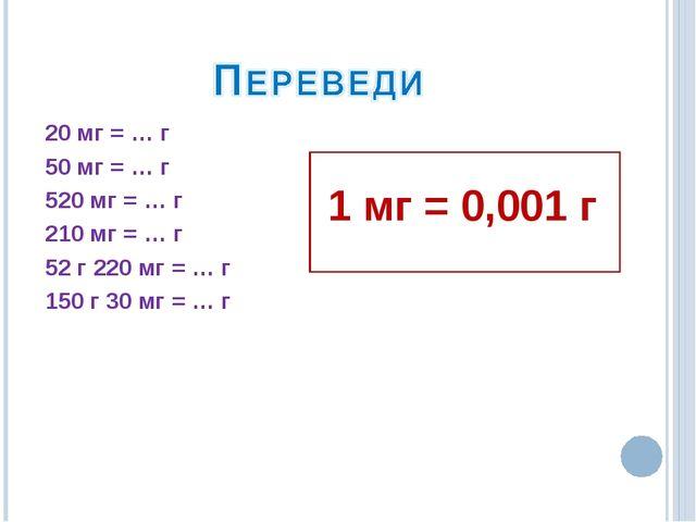 20 мг = … г 50 мг = … г 520 мг = … г 210 мг = … г 52 г 220 мг = … г 150 г 30...