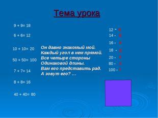 9 + 9= 6 + 6= 10 + 10= 50 + 50= 7 + 7= 8 + 8= 40 + 40= 12 16 20 100 14 18 80