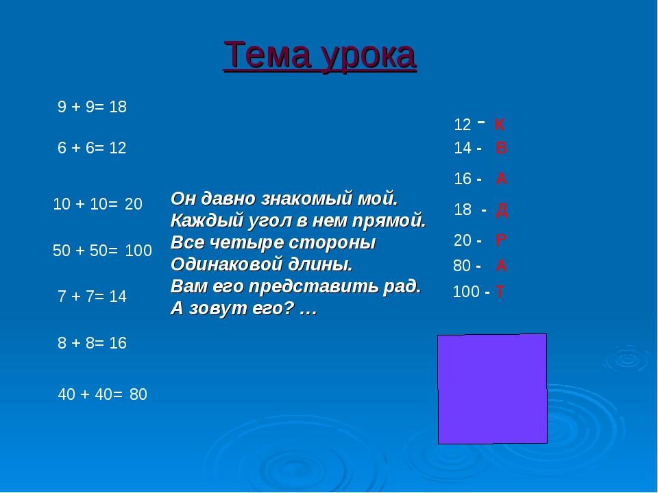 9 + 9= 6 + 6= 10 + 10= 50 + 50= 7 + 7= 8 + 8= 40 + 40= 12 16 20 100 14 18 80...