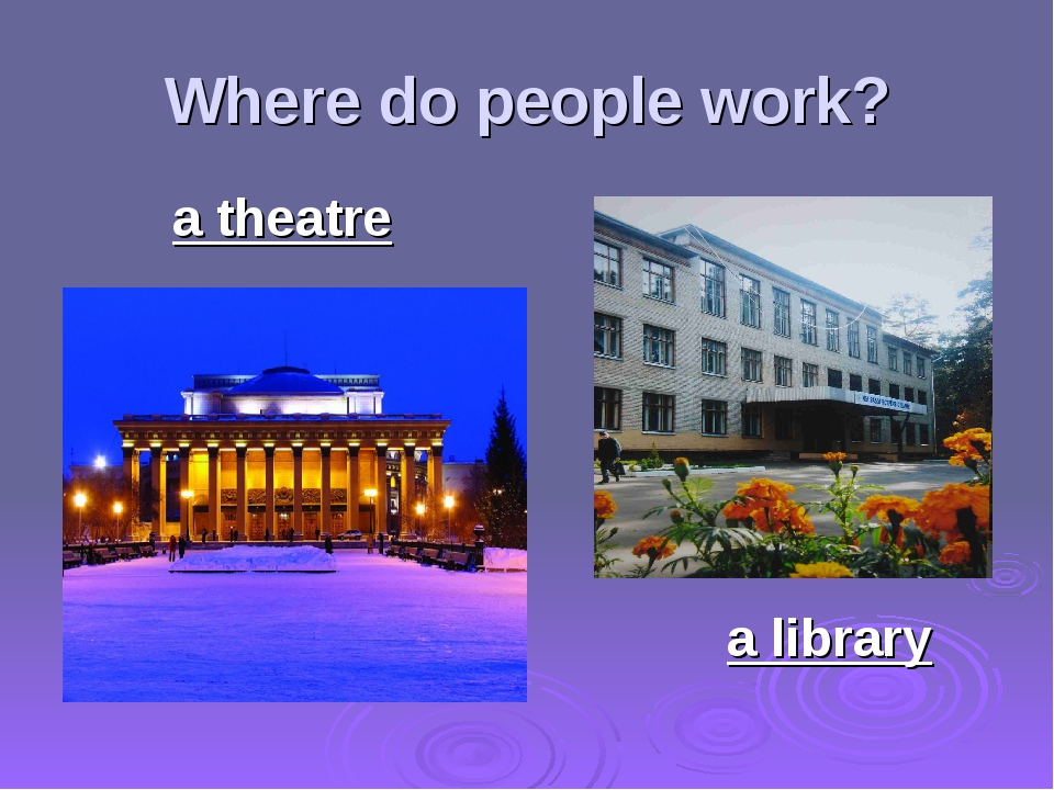 Where do people work? a theatre a library