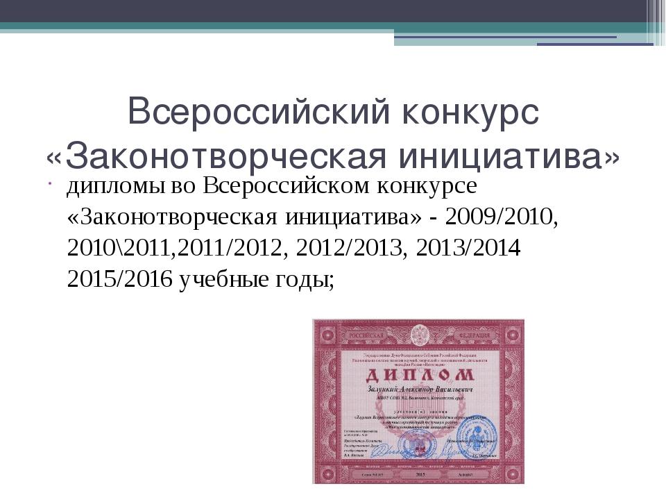 Всероссийский конкурс «Законотворческая инициатива» дипломы во Всероссийском...