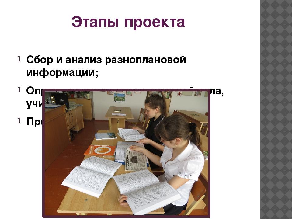 Этапы проекта Сбор и анализ разноплановой информации; Опрос, анкетирование жи...