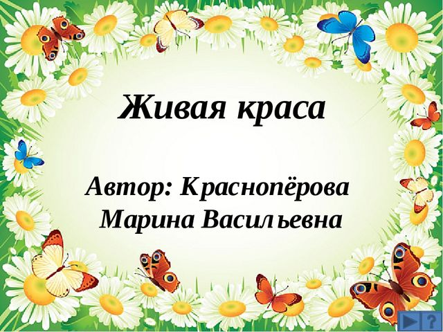 Живая краса Автор: Краснопёрова Марина Васильевна