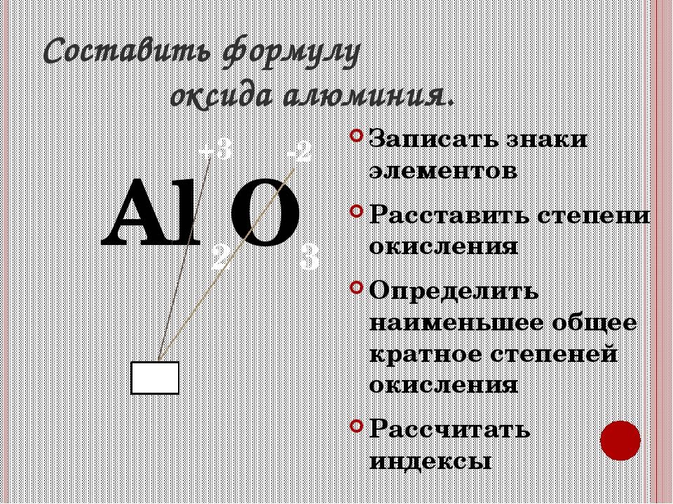 Составить формулу оксида алюминия. Al O Записать знаки элементов Расставить с...