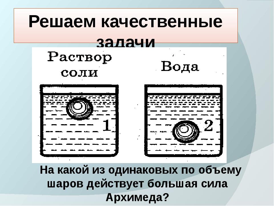 Решаем качественные задачи На какой из одинаковых по объему шаров действует б...