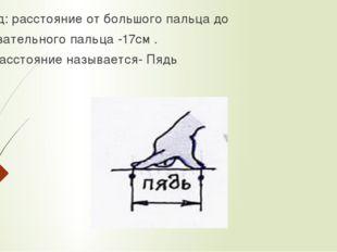 Вывод: расстояние от большого пальца до указательного пальца -17см . Это расс