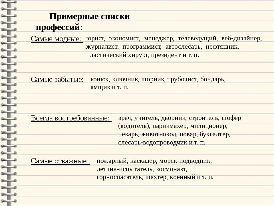Примерные списки профессий: Самые модные: юрист, экономист, менеджер, телевед...