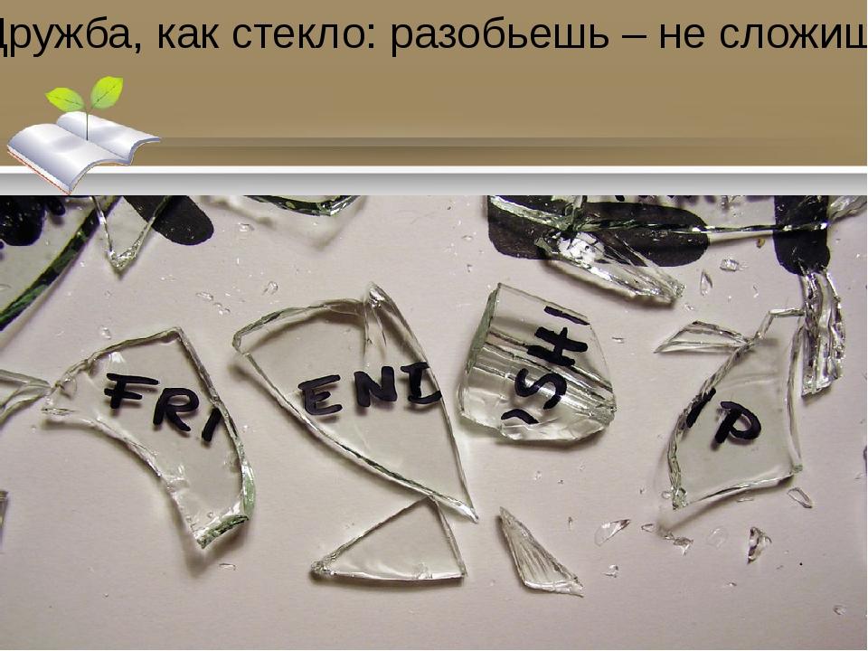 Дружба, как стекло: разобьешь – не сложишь