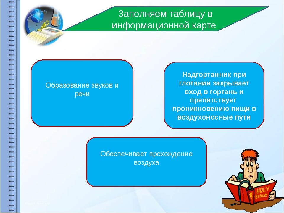 Заполняем таблицу в информационной карте Образование звуков и речи Надгортанн...