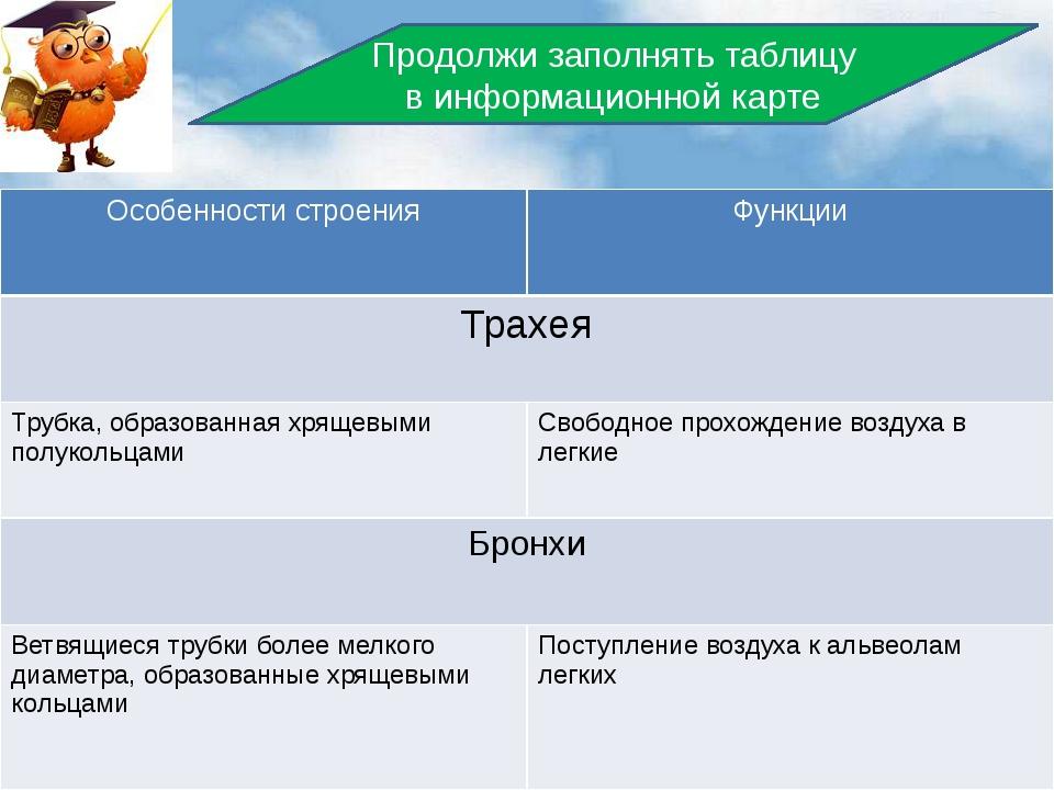 Продолжи заполнять таблицу в информационной карте Особенности строения Функц...