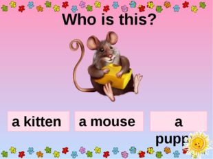 Who is this? a kitten a puppy a mouse