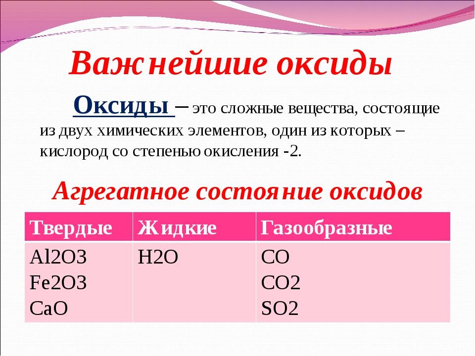 Оксиды – это сложные вещества, состоящие из двух химических элементов, оди...