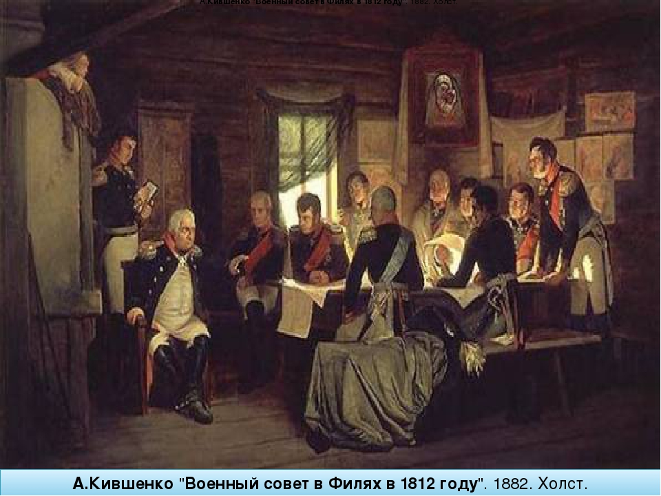 "А.Кившенко""ВоенныйсоветвФиляхв1812году"". 1882.Холст. А.Кившенко""Воен..."