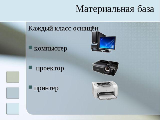 Материальная база Каждый класс оснащён компьютер проектор принтер