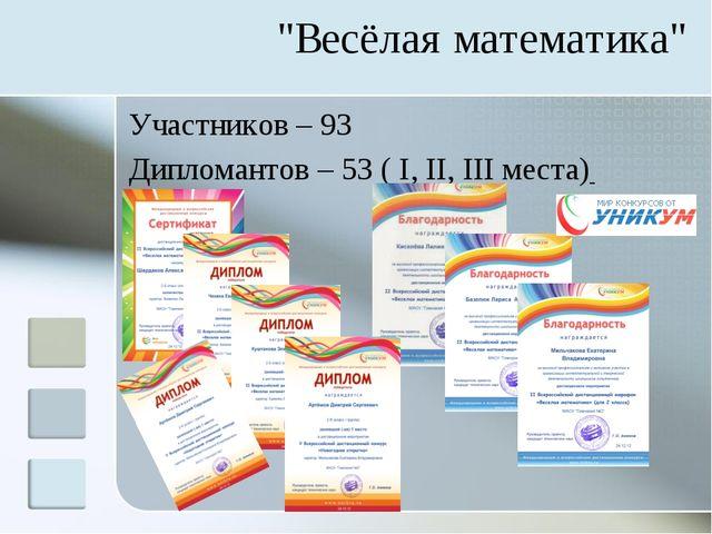 "Участников – 93 Дипломантов – 53 ( I, II, III места) ""Весёлая математика"""