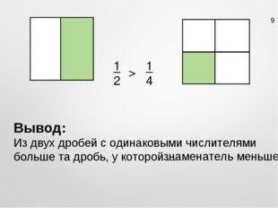 1 2 1 4 > Вывод: Из двух дробей с одинаковыми числителями больше та дробь, у