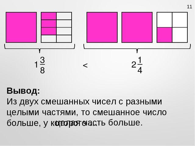 3 8 1 1 4 2 < Вывод: Из двух смешанных чисел с разными целыми частями, то сме...