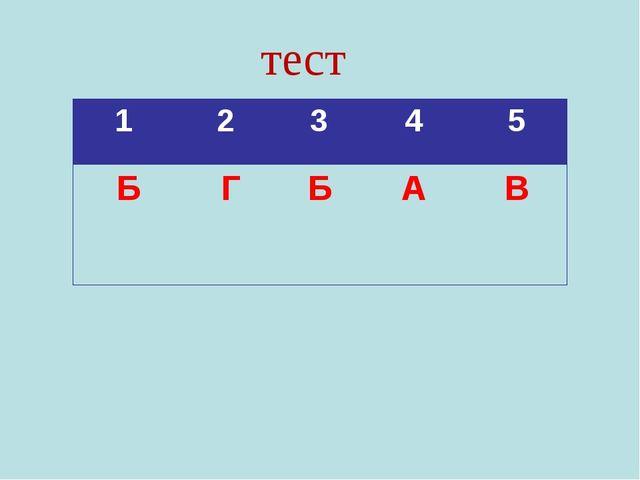 тест 1 2 3 4 5 БГБАВ