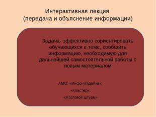 Интерактивная лекция (передача и объяснение информации) АМО: «Инфо-угадайка»;