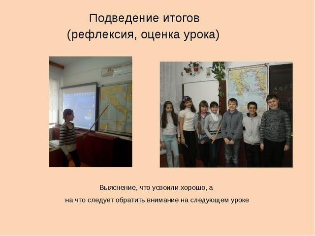 Подведение итогов (рефлексия, оценка урока) Выяснение, что усвоили хорошо, а...
