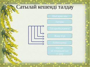 Сатылай кешенді талдау Шығарма аты Авторы Тақырыбы,идеясы Жанр түрі Кейіпкерл
