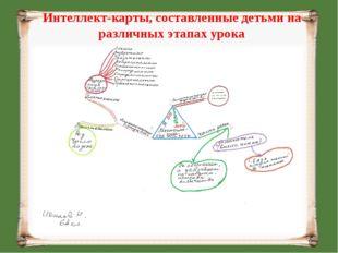 Интеллект-карты, составленные детьми на различных этапах урока