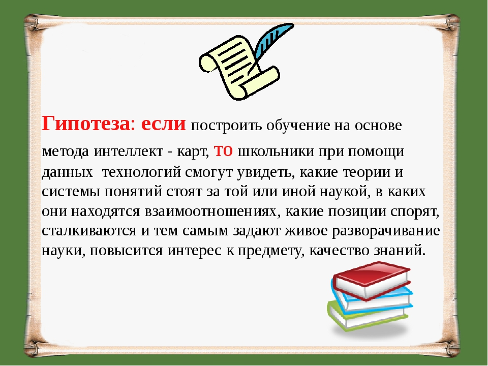 Гипотеза: если построить обучение на основе метода интеллект - карт, то школь...