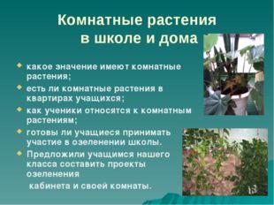 Комнатные растения в школе и дома какое значение имеют комнатные растения; ес