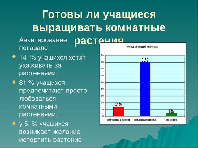 Готовы ли учащиеся выращивать комнатные растения Анкетирование показало: 14 %...