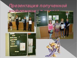 Презентация полученной информации в классе