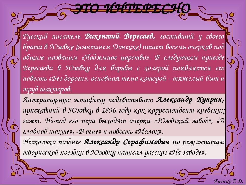 ЭТО ИНТЕРЕСНО Яненко Е.Д. Русский писательВикентий Вересаев,гостивший усвоего...