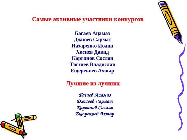 Самые активные участники конкурсов Багаев Ацамаз Джиоев Сармат Назаренко Иоан...
