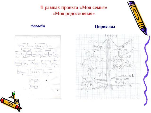 В рамках проекта «Моя семья» «Моя родословная» Багаевы Цириховы