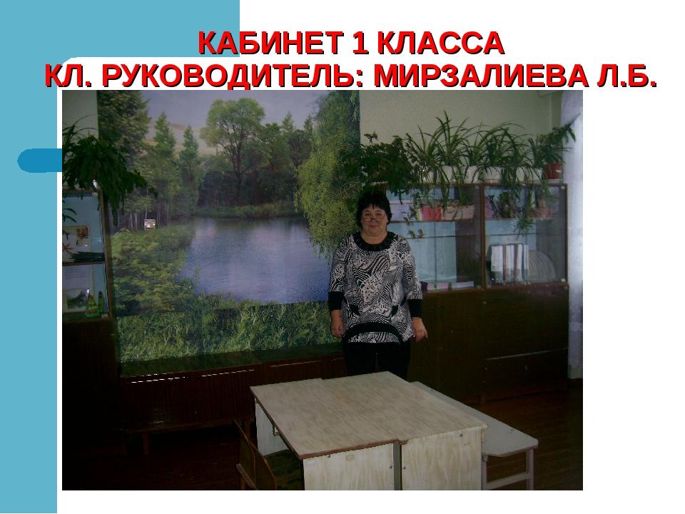 КАБИНЕТ 1 КЛАССА КЛ. РУКОВОДИТЕЛЬ: МИРЗАЛИЕВА Л.Б.