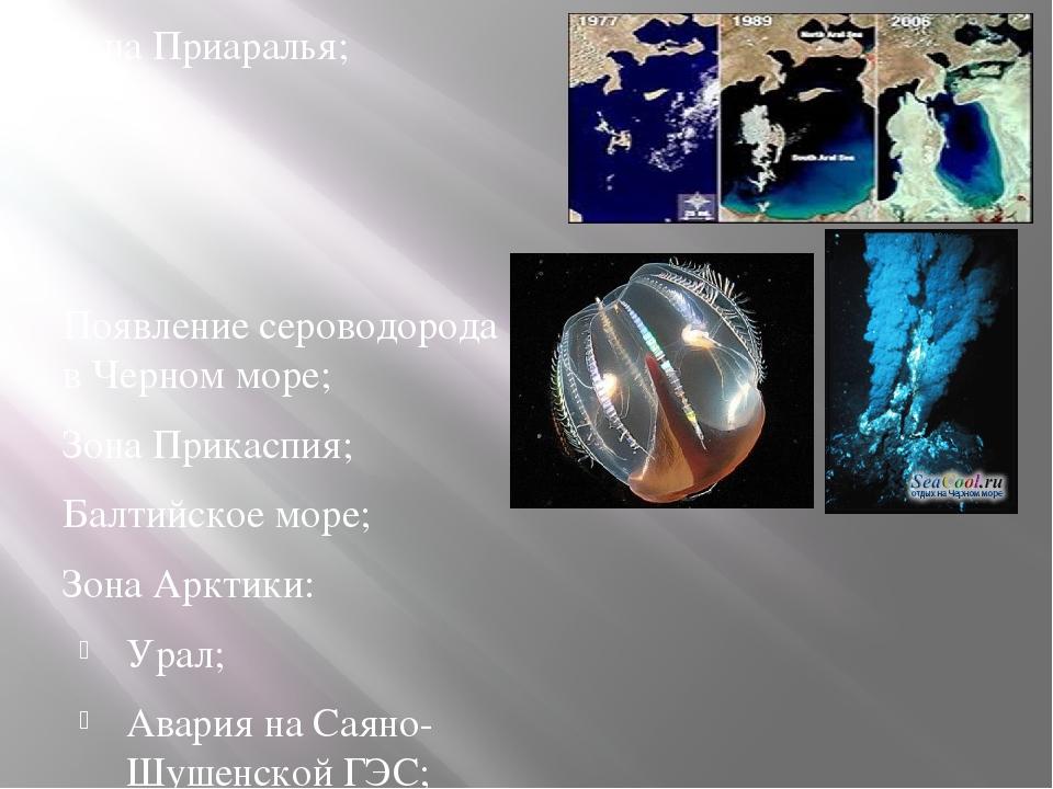 Зона Приаралья; Появление сероводорода в Черном море; Зона Прикаспия; Балтийс...