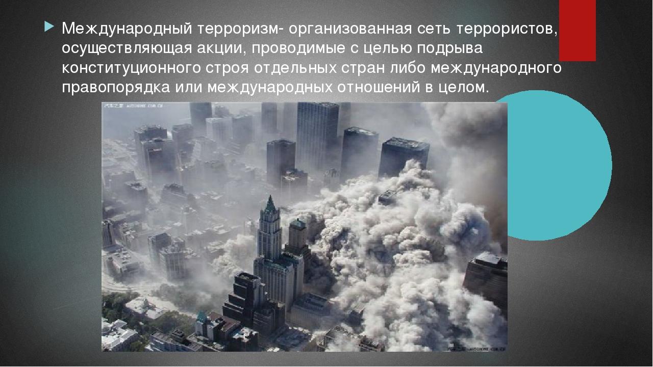 Международный терроризм- организованная сеть террористов, осуществляющая акци...