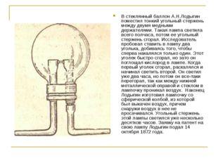 В стеклянный баллон А.Н.Лодыгин поместил тонкий угольный стержень между двумя