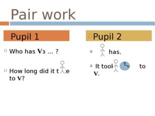 Pair work Who has Vз … ? How long did it take to V? Pupil 1 Pupil 2 has. It t