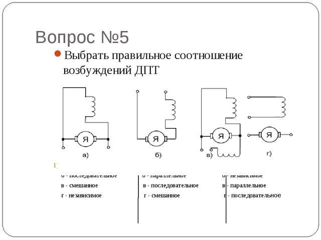 Вопрос №5 Выбрать правильное соотношение возбуждений ДПТ 1) а - параллельное...