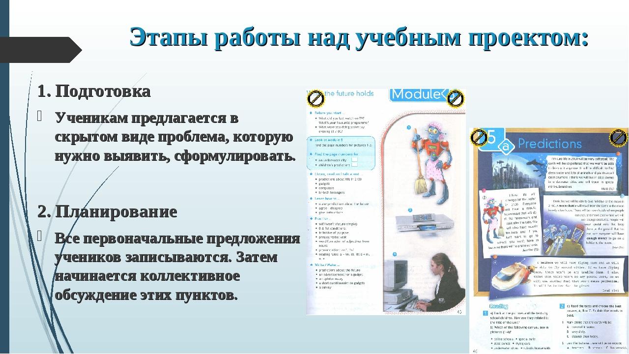 Этапы работы над учебным проектом: 1. Подготовка Ученикам предлагается в скры...