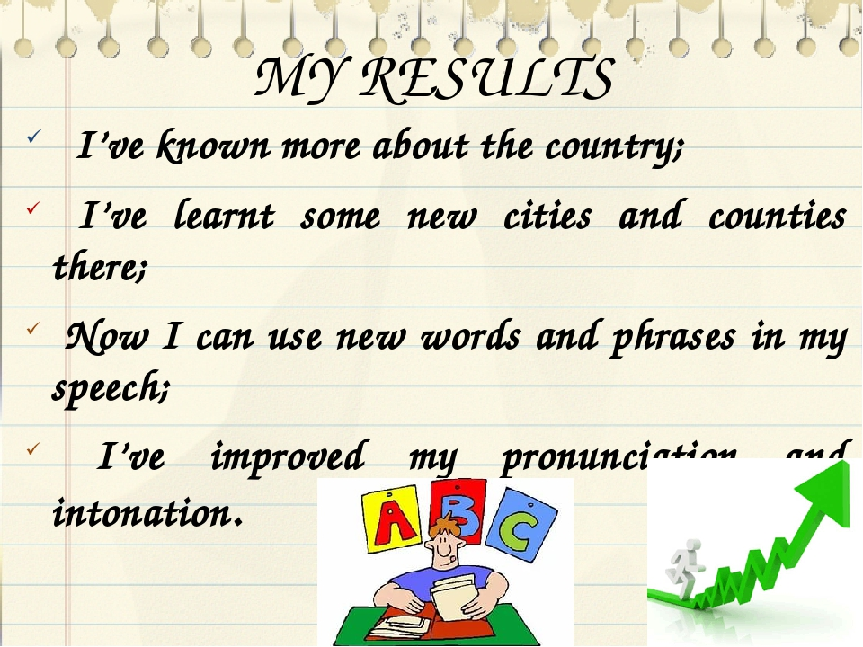MY RESULTS I've known more about the country; I've learnt some new cities and...