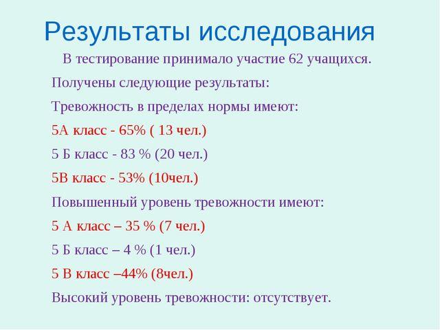 Результаты исследования В тестирование принимало участие 62 учащихся. Получен...