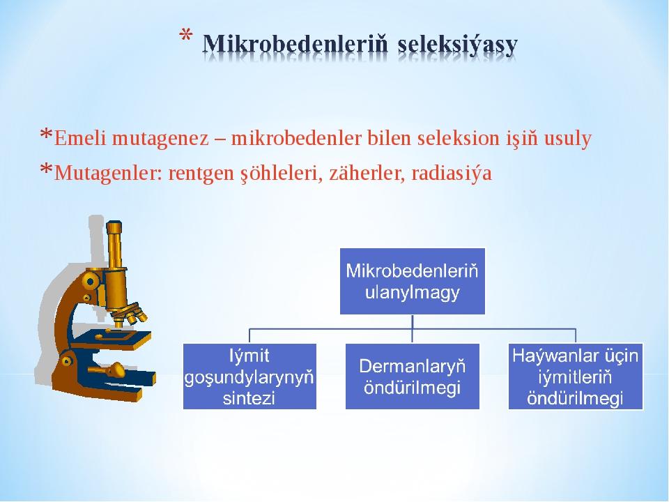 Emeli mutagenez – mikrobedenler bilen seleksion işiň usuly Mutagenler: rentge...