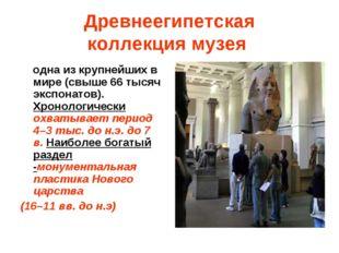 Древнеегипетская коллекция музея одна из крупнейших в мире (свыше 66 тысяч эк
