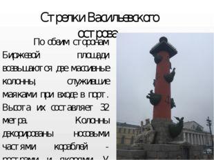 Стрелки Васильевского острова По обеим сторонам Биржевой площади возвышаются