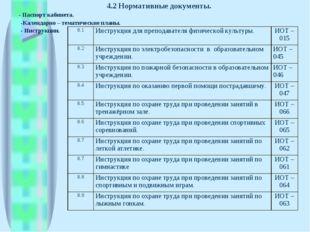 4.2 Нормативные документы. - Паспорт кабинета. -Календарно – тематические пла