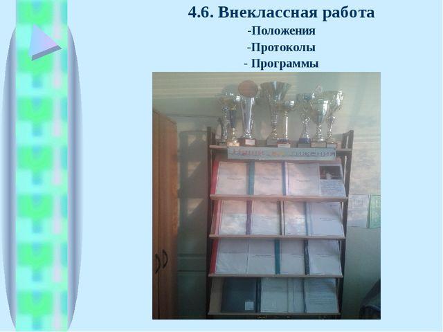 4.6. Внеклассная работа -Положения -Протоколы - Программы