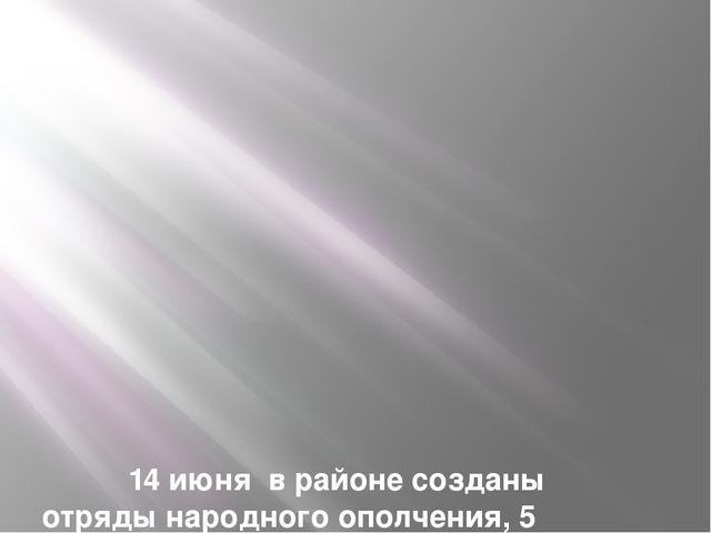 14 июня в районе созданы отряды народного ополчения, 5 батальонов во главе с...