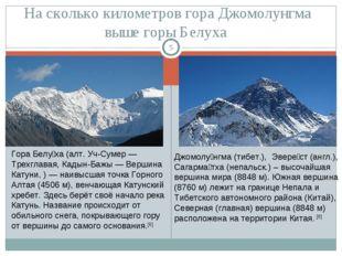 На сколько километров гора Джомолунгма выше горы Белуха * Гора Белу́ха (алт.